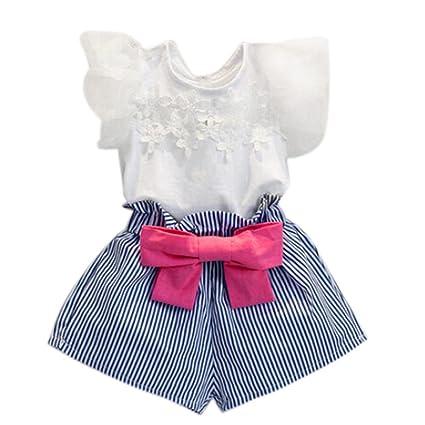Ropa Bebe Niña ❤ Amlaiworld Camiseta de encaje niña + pantalón corto a rayas Conjunto