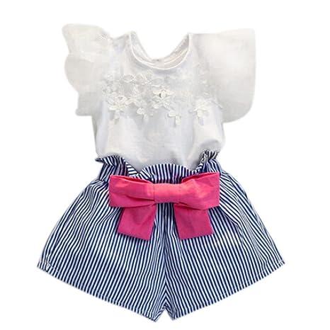 6cac6b6b8 Ropa Bebe Niña ❤ Amlaiworld Camiseta de encaje niña + pantalón corto a  rayas Conjunto