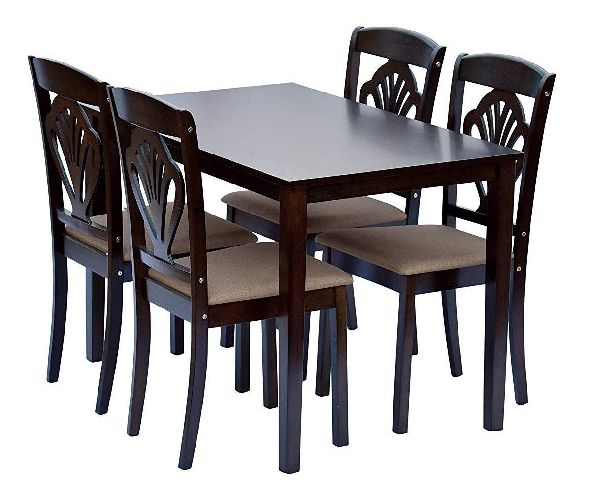 Shilpi Handcrafted Wooden Leaf Design Decor Chairs Back Modern Look 4 Seater Dining Table In Standard Size Amazon In Home Kitchen