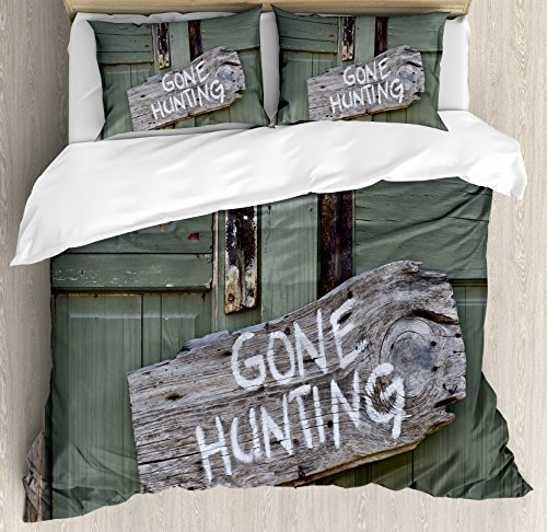Ambesonne Hunting Decor Duvet Cover Set Queen Size, Gone Hunting Written on Wooden Board Old Worn Out Cottage Door Seasonal Hobby, Decorative 3 Piece Bedding Set with 2 Pillow Shams, Multicolor ()