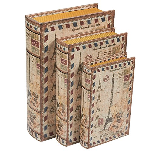 3 Piece Book Box Set - Decorative Book Storage Box Money, Jewelry, Eiffel Tower Design, 3 Different Sizes, 8, 10, 12 Inches