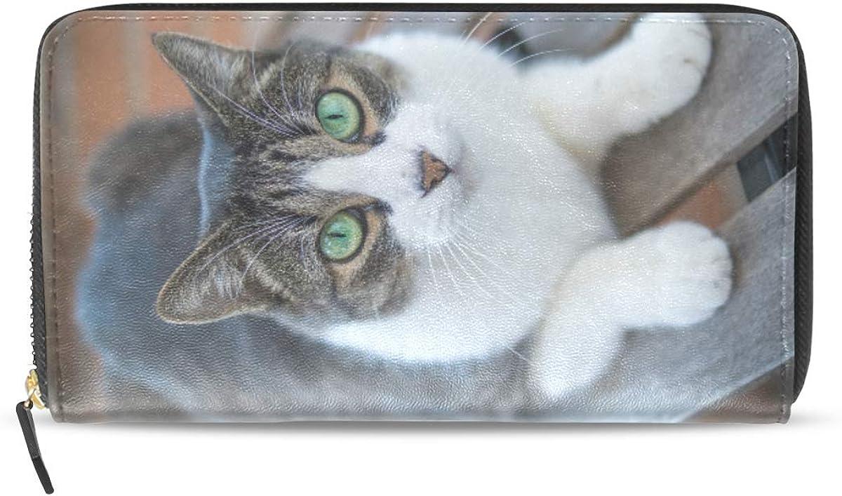 LENNEL Monedero largo plegable de cuero de la vendimia de las mujeres con cremallera embrague billetera Mens Cat