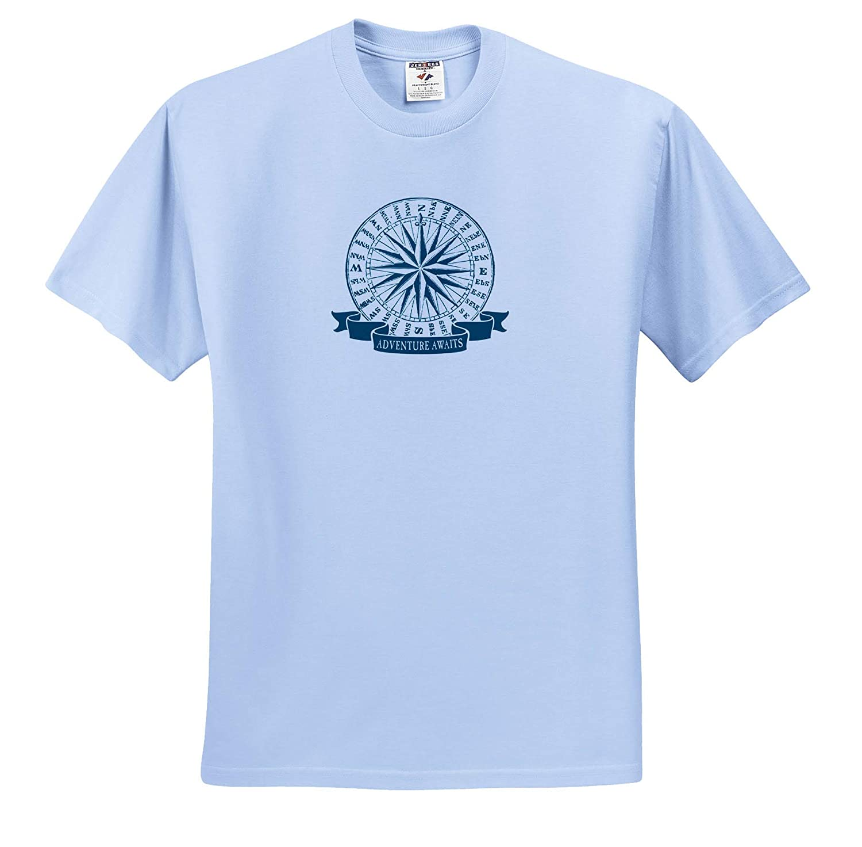 Adventure Awaits T-Shirts 3dRose Russ Billington Nautical Designs Vintage Nautical Compass Rose in Blue and White