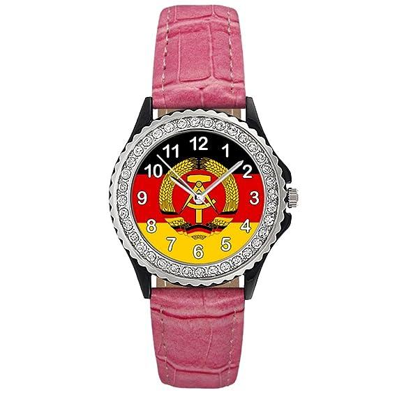 Timest - República Democrática Alemana Reloj del cuero rosa para mujer con piedrecillas Analógico Cuarzo CSG0082p: Amazon.es: Relojes