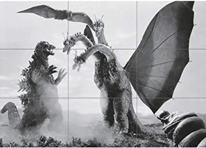 Godzilla Mothra and king Ghidora reproduction poster 24x36 kaiju