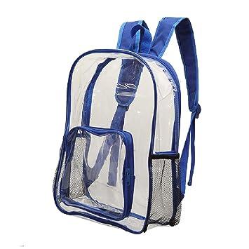 Xuxuou Mochila Transparente para Playa Impermeable de PVC Bolso de Escuela Neceser Moda Organizador de Viaje Portátil Size 20L (Azul): Amazon.es: Equipaje