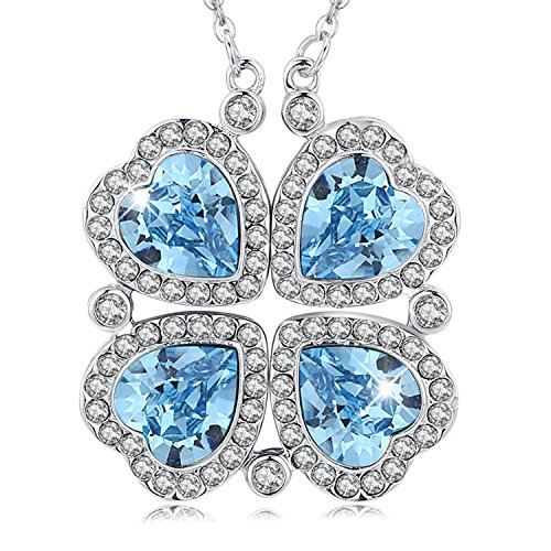 4 Four Leaf Clover Pendant (MEGA CREATIVE JEWELRY Necklace for Women Four Leaf Clover Pendant Made with Swarovski Crystals Good Luck Gift for Mom Wife Daughter (Transformable Style))