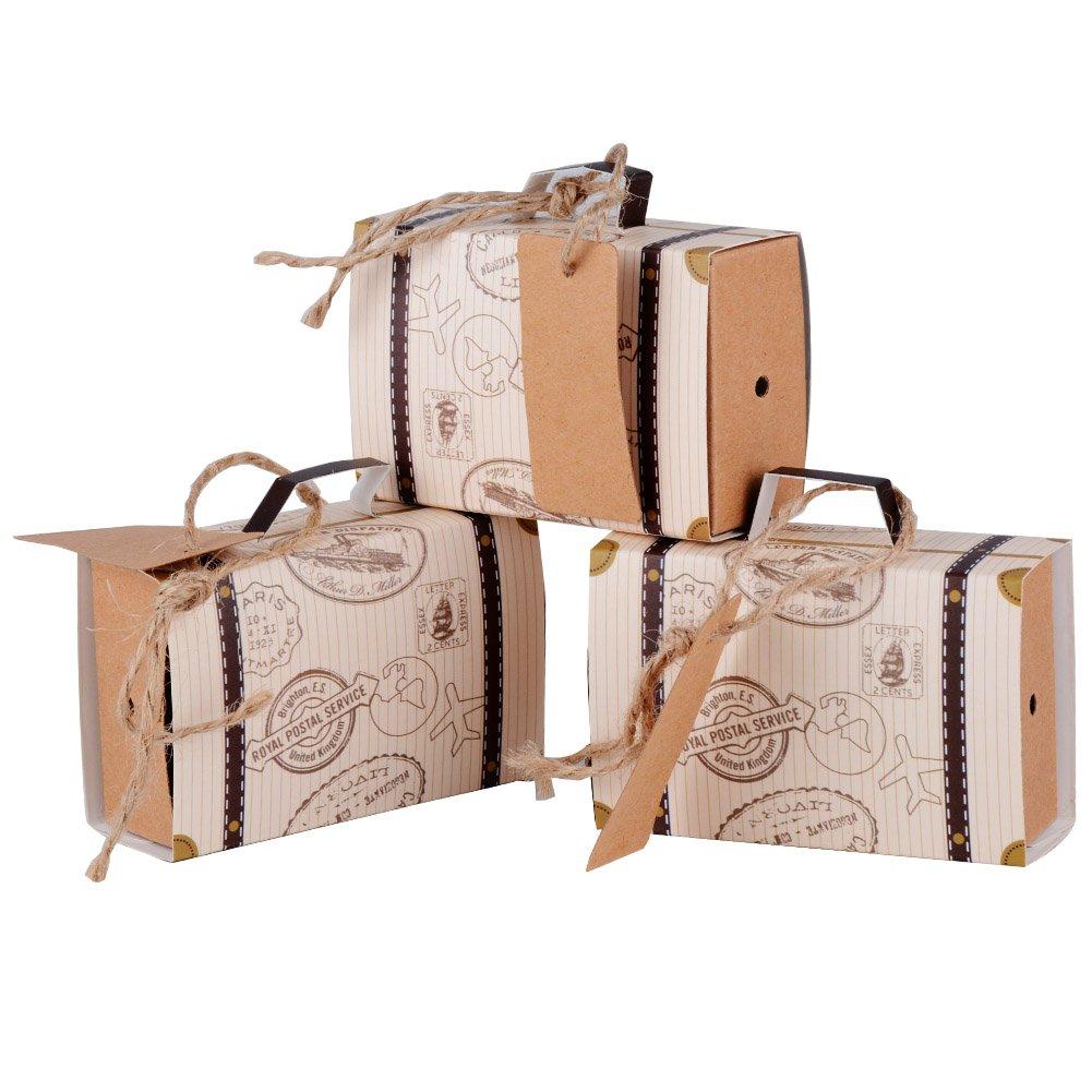 AONER (7.7x2.7x5cm) 100pcs Boîte à dragée Bonbonnière en Bagage Thème de Voyage Kraft et Corde de Chanvre pour Mariage, Baptême ou Diplôme 10237