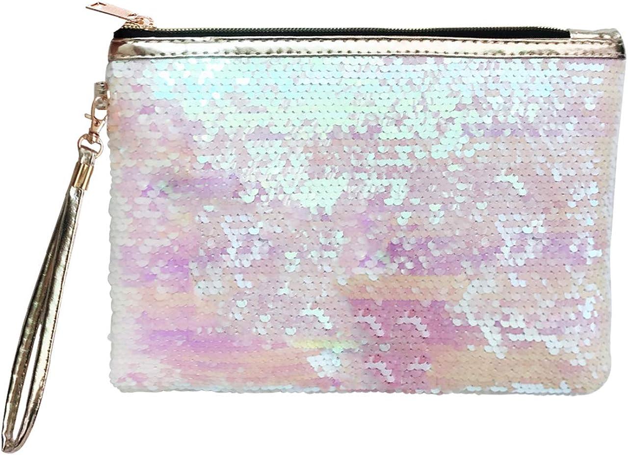 Ayliss Women Sequin Envelope Handbag Party Clutch Makeup Bag Reversible Glitter Paillette Cosmetic Pouch