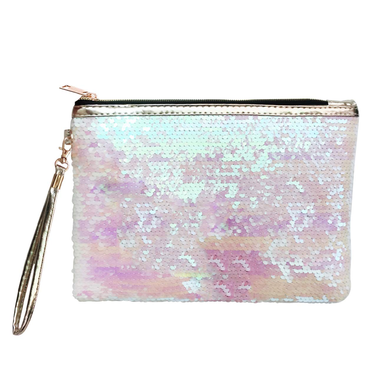 CCbeauty Makeup Bag Reversible Cosmetic Bag Fashion Women Handbag Bling Glitter Sparkling Shiny Clutch Purse Wallet Pouch (Pink+White)
