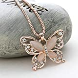 Fashion Women Rose Gold Opal Butterfly Charm Pendant Long Chain Necklace Jewelry by Thimmei