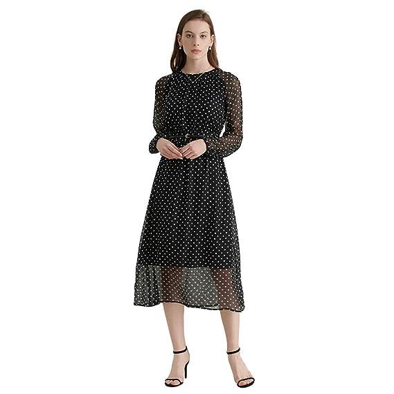 LILYSILK Silk Long Sleeve Dresses for Women Vintage Retro Style Silk Lining Polka Dot Calf Length