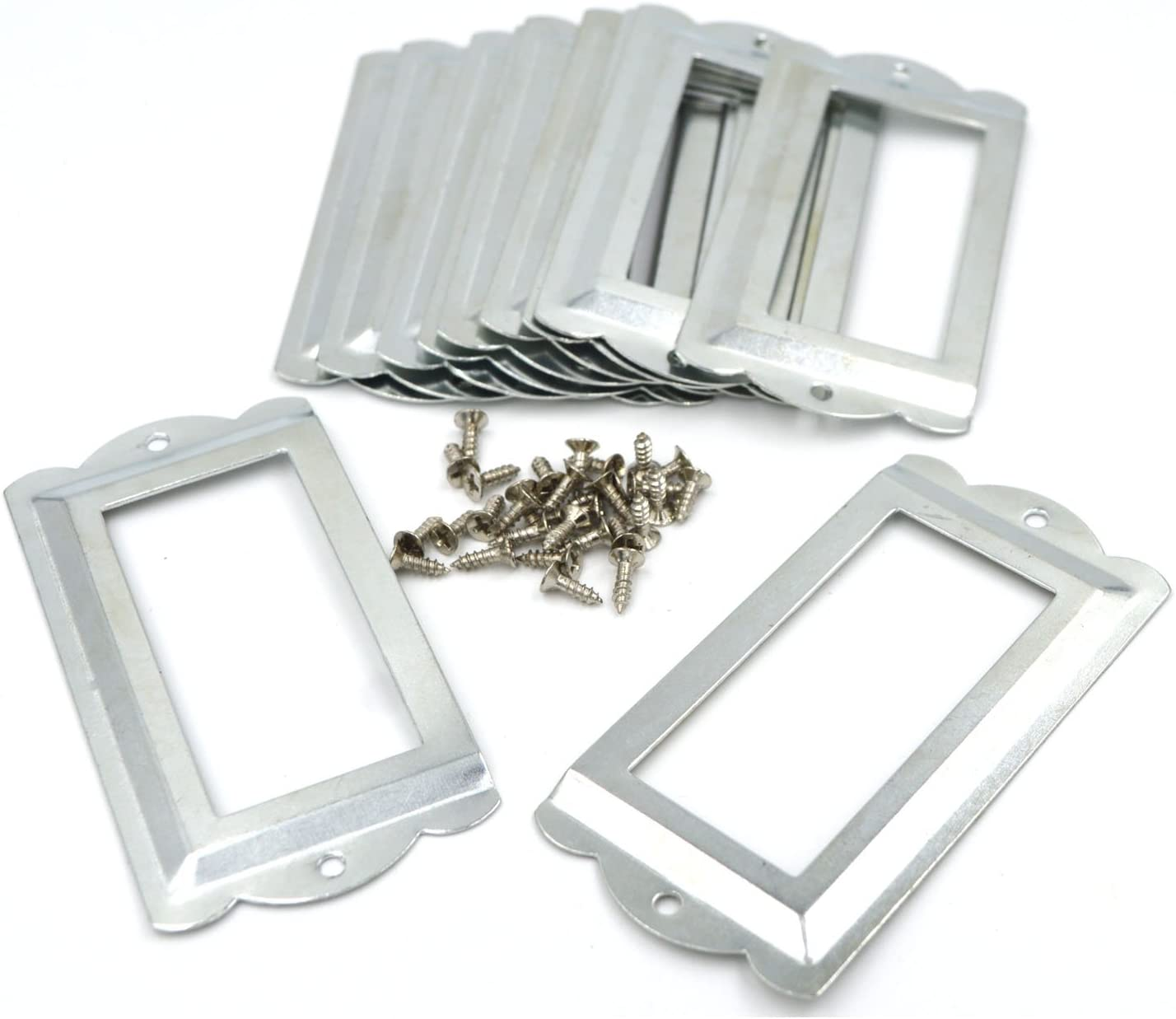 SpzcdZa 12Pack 84 x 42mm Office Library File Drawer Cabinet Card Tag Label Card Holder Drawer Pull/Label Holders/Label Frames Card/Label Holder Modern Label Holders Metal Frame(Silver Tone)