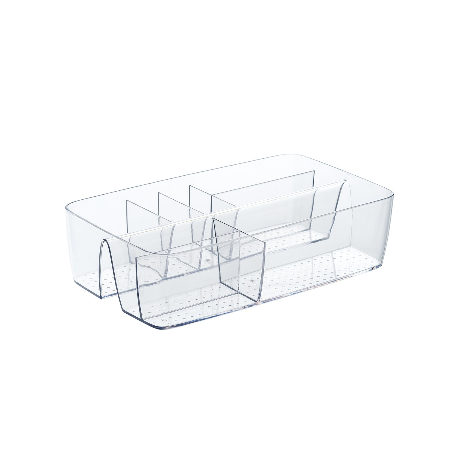Budget & Good Desk Drawer Organizer Multi-Purpose Clear Plastic Vanity Tray for Home Bathroom Kitchen & Office Storage Organization, 8 Section, 1 Pack by Budget & Good