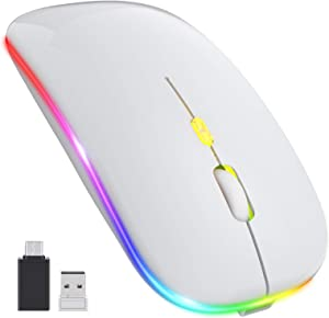 【Upgrade】 LED Wireless Mouse, Rechargeable Slim Silent Mouse 2.4G Portable Mobile Optical Office Mouse with USB & Type-c Receiver, 3 Adjustable DPI for Notebook, PC, Laptop, Computer, MacBook (White)