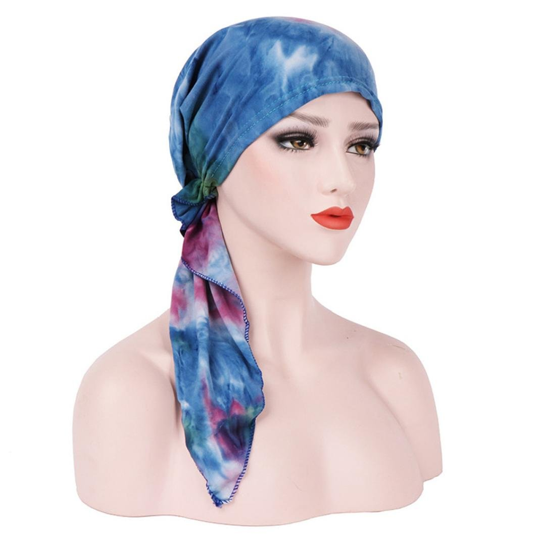FreshZone Women India Stretch Turban Hat Tie-dye Cotton Hair Loss Head Scarf Wrap Multifunctional for Casual (Blue)