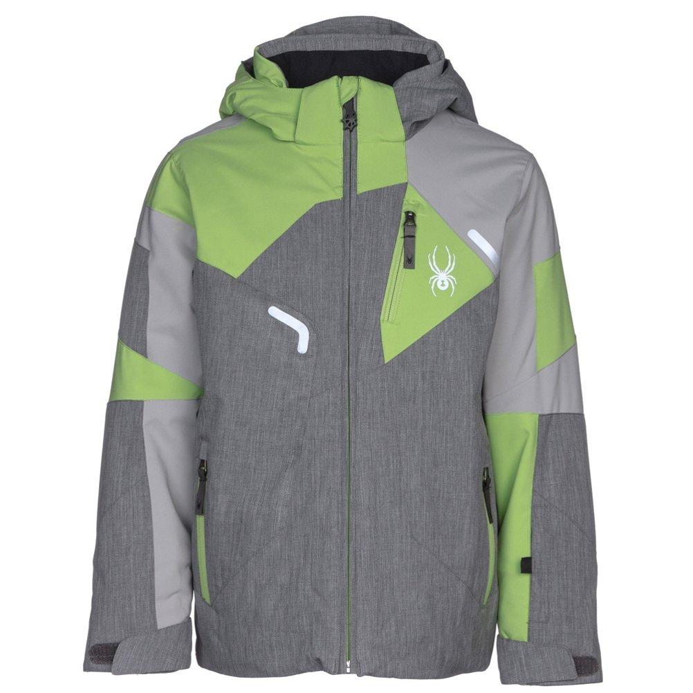 Spyder Kids Boy's Leader Jacket (Big Kids) Polar Herringbone/Limestone/Fresh 10