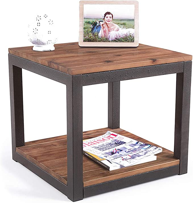 Care Royal Vintage Industrial Farmhouse 19 7 Inches Side End Table With Storage Shelf For Living Room Night Stand Bedroom Real Natural Reclaimed Wood Sturdy Rustic Brown Metal Frame Easy Assembly Kitchen Dining Amazon Com
