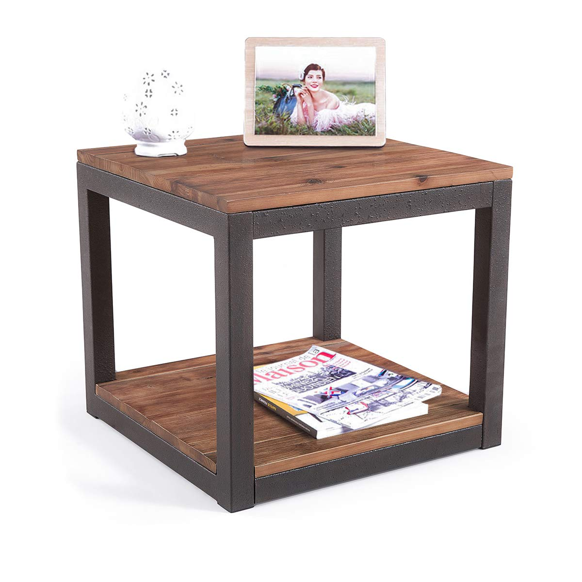Care Royal Vintage Industrial Farmhouse 19.7 inches Side End Table with Storage Shelf for Living Room, Night Stand Bedroom, Natural Solid Reclaimed Wood, Sturdy Rustic Brown Metal Frame, Easy Assembly by Care Royal
