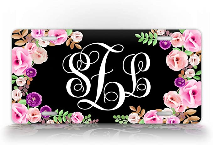 Personalized License Plate Front Car Tag for Women Sunflower White Vanity Plate Magenta Watercolor Floral Yellow Monogram Car Tag