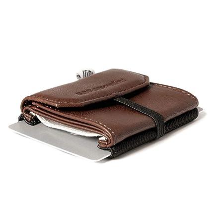 Cartera pequeña y Fina - Space Wallet 2.0 Pull con Bolsillo Adicional - de Piel, Cuero, Muchos Colores