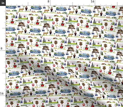 Alpine Chalet Fabric - Swiss Design Winter Gift Wrap Alps Cuckoo Clock Switzerland Wrapping Paper Print on Fabric by the Yard - Basketweave Cotton Canvas for Upholstery Home Decor Bottomweight Apparel
