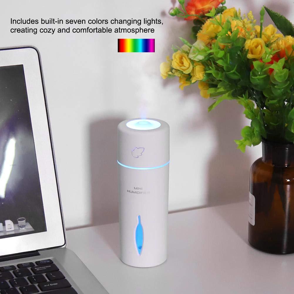 Mini USB Humidificador De Moda Port/átil De Aire Hidratante De Actualizaci/ón para El Dormitorio De La Oficina del Coche 150 ml Modo De Pulverizaci/ón Blanco