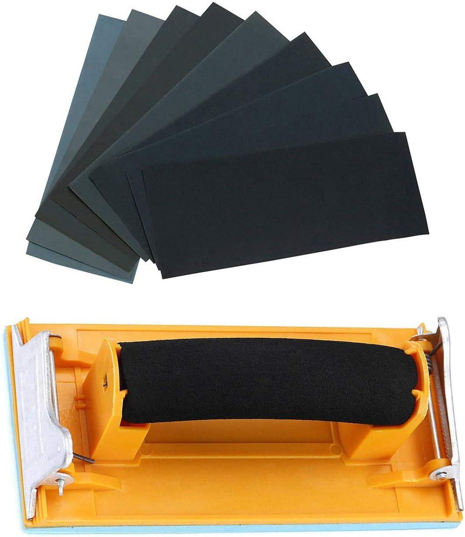 Sandpaper Variety Pack 120 to 3000 Assorted Grits Sand Paper 24 Pack Sandpaper + 1 Hand Sander, 9x3.6 Inch Sanding Sheets for Wood Furniture Finishing Glass Metal Sanding Automotive Polish