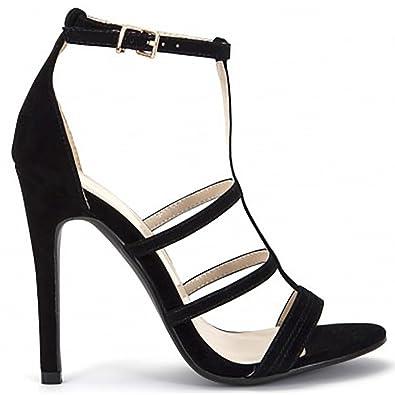 c708326d91d610 Damen Schwarz Faux Wildleder Riemchen Offener Spitze Stiletto High Heels  Schuhe UK8 EURO41 AUS9