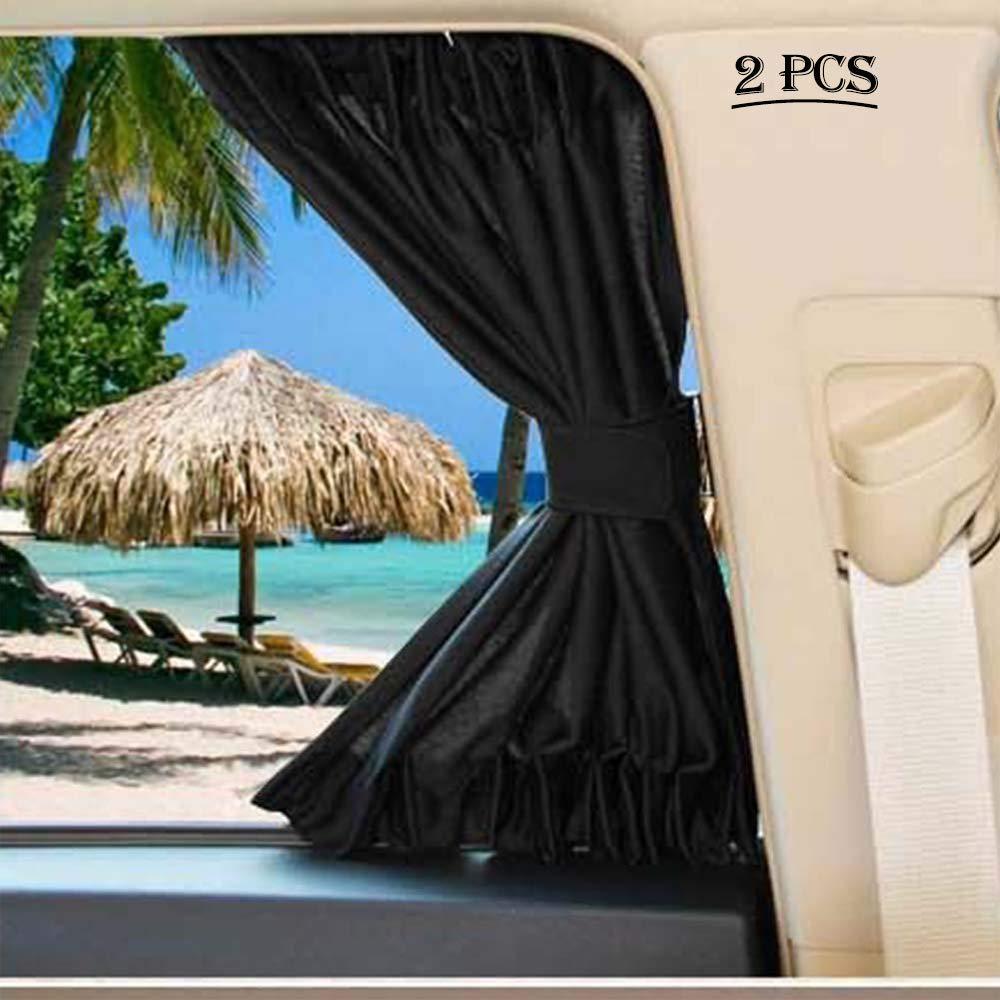 Fochutech Car Side Window Sun Shade, Car Privacy Curtain, 2PCS UV Protection, Baby Sun Shade, Car Blackout Curtains (Black, 70L)