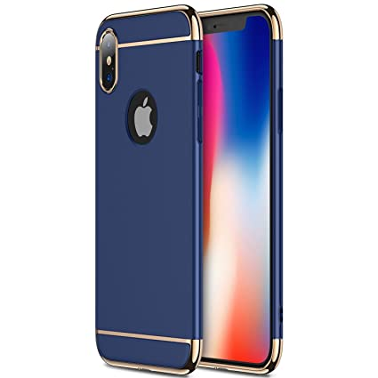 best service 09a55 98d86 Aeetz® iPhone X Case, iPhone X covers, 3 in 1 Thin Slim Hard Stylish Case  Matte Surface with Electroplate Frame, Mobile case for Apple iPhone X ...