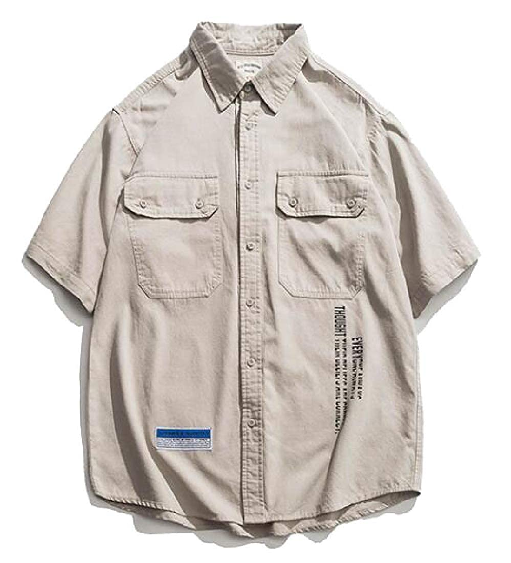 H.Wang Mens Short Sleeve Work Shirt Casual Cargo Shirt Tactical Shirt Outdoors
