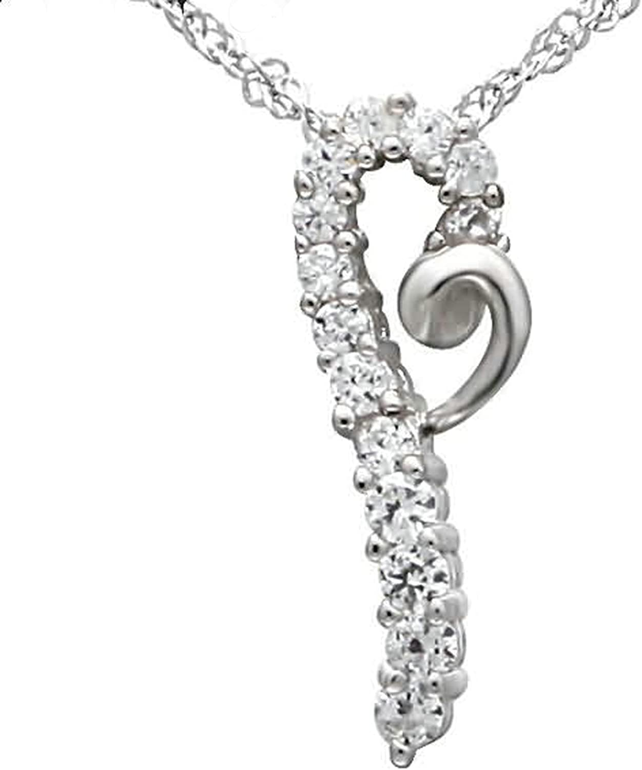 Aokarry Womens S925 Silver Pendant Necklace Swirl Floral Hook White