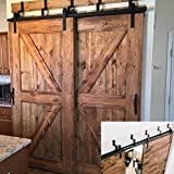 Hahaemall Rustic Interior 5-16FT J-Shape Bypass Barn Door Hardware Sliding Double Door Steel Track Hanging Track (10 FT Bypass Kit)