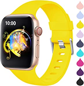 Haveda Sport Band Compatible for Apple Watch Series 6 40mm Series 5/4, Breathable iWatch Bands 40mm Womens for Apple Watch SE, Apple Watch 38mm Series 3 2 1 Waterproof Men, Mango Yellow 38mm/40mm S/M