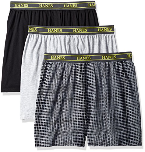 Hanes Ultimate Men's 3-Pack Hanging Boxer Waterfall Package, Assorted Knit, Large