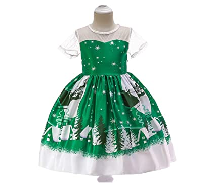 b0a22bb4f Christmas Dresses for Girls Clothing Party Kids Santa Claus Snowflake  Christmas Costumes for Toddler Girls (