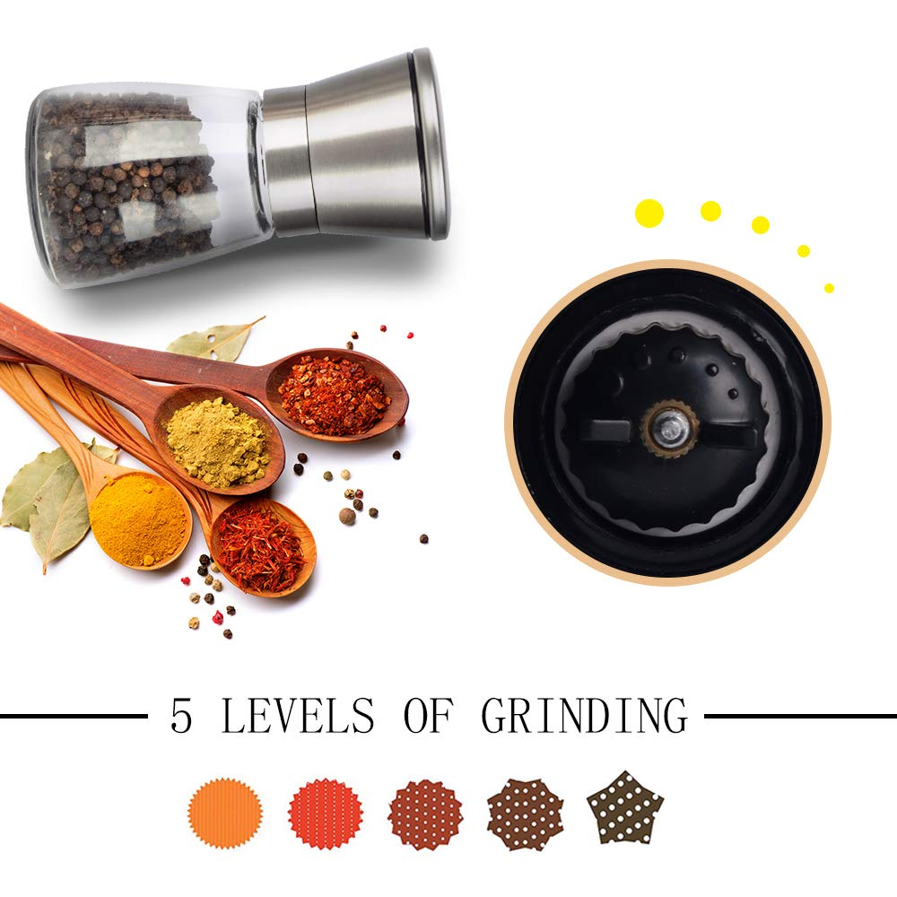 Salt and Pepper Grinder Set with Matching Stand and Brush, SHiZAK Premium Adjustable Ceramic Coarseness Grinding Mechanism Set of 2- Glass Body & Stainless Steel Top Shaker