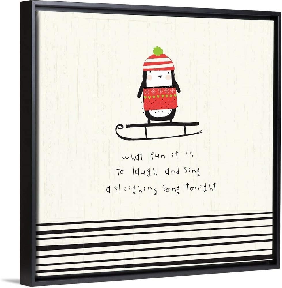 "Sleighing Song Penguin Black Floating Frame Canvas Art, 32""x32""x1.75"""