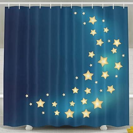 ZMLSJY Moon Stars Shower Curtain Polyester Fabric Waterproof With Hooks For Bathroom