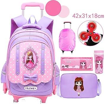 Bolsa de Trolley para niños 3-5-6 niñas de Grado 6-12 años Mochilas Escolares 6 Rondas Arrastre púrpura: Amazon.es: Equipaje