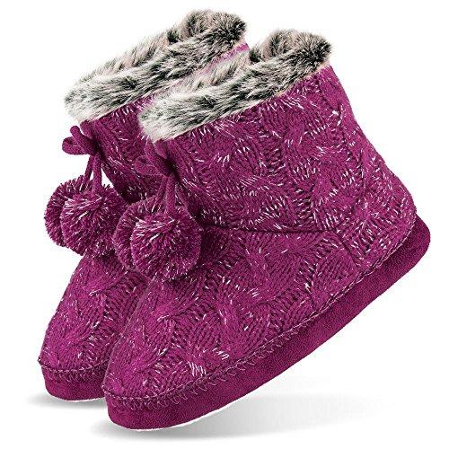Niños Chica–Zapatos de pantuflas Mujer Booties con pompón y ABS Suela morado