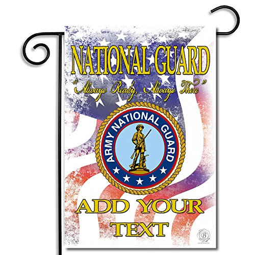 Brotherhood US National Guard Always Ready Always There Garden Flag, with The Army National Guard Seal, Personalized with Your Text