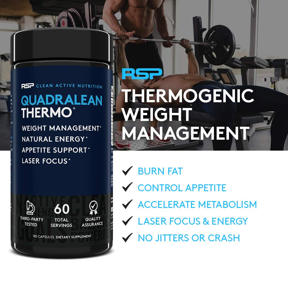 RSP QuadraLean Thermogenic Fat Burner for Men & Women, Weight Loss  Supplement,