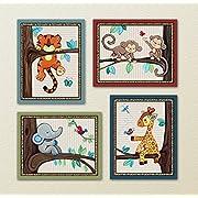 Treetop Jungle Animal Buddies Nursery Wall Art Prints (8 x10 , (4) Set of Four)