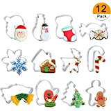 Christmas Cookie Cutter Set - 12 Piece Cutters Molds Include Snowflake, Reindeer, Gingerbread Men, Christmas Tree, Snowman, Santa etc