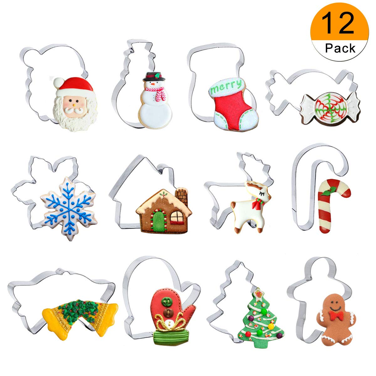 Christmas Cookie Cutter Set - 12 Piece Cutters Molds Include Snowflake, Reindeer, Gingerbread Men, Christmas Tree, Snowman, Santa etc