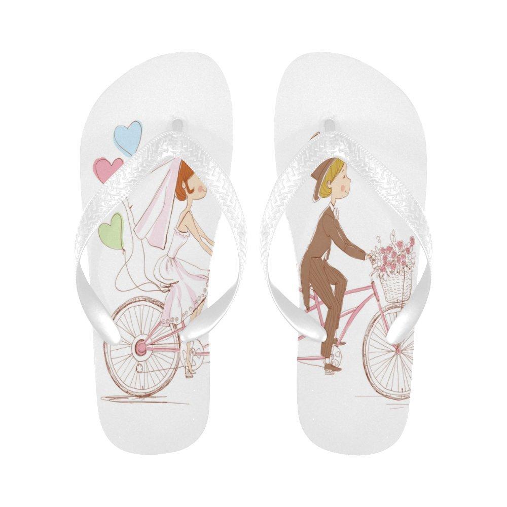 InterestPrint Non-Slip Flip Flop Slippers, Bride Groom Riding a Bike Wedding Love Ballons Summer Beach Slim Thong Sandal Outdoor Casual Footwear