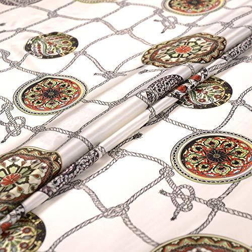 Art Graphic Print White Stretch Silk Satin Fabric by The Yard Width 42 inch