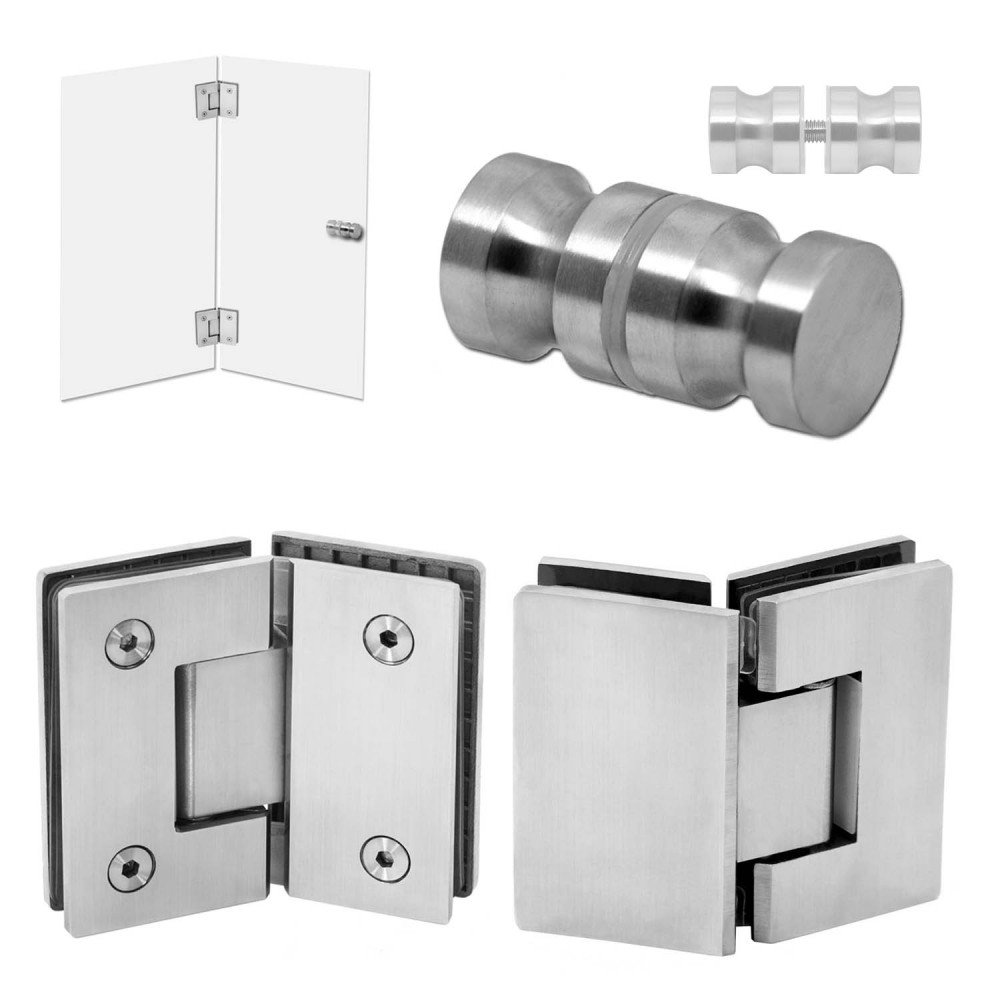 Stainless Steel Glass Door Hinge + Handle Knob Bathroom Shower Cabin Glass-to-Glass Mounted Wall Screw Matt Shiny, Model:mod 8 tumundo